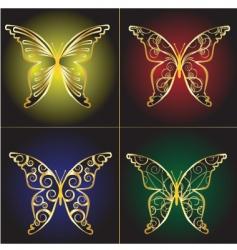 vintage butterflies background vector image