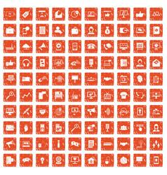 100 help desk icons set grunge orange vector image vector image