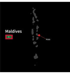 Detailed map of Maldives and capital city Male vector image vector image