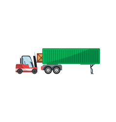 forklift loading freight truck isolated icon vector image vector image