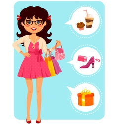 girl at the mall vector image vector image