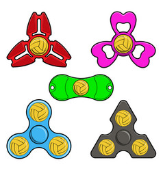 Hand spinner toys with water polo ball flat vector