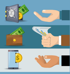 hands doing differents process for save and pay vector image vector image
