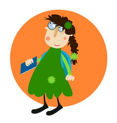 teen girl wearing eyeglasses with a book in her vector image
