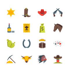cartoon symbol of cowboy color icons set vector image