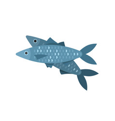 flat style of fish vector image
