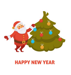 happy new year cartoon santa decorating christmas vector image vector image