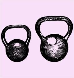 kettlebell dumbbell weight sport equipment dood vector image vector image