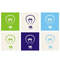 Light bulbs eco icon set vector image vector image