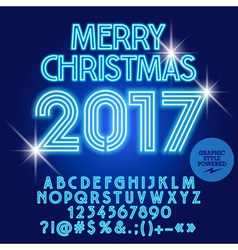 Modern light up Merry Christmas 2017 greeting card vector image