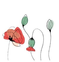 Poppy field in scandinavian style vector image