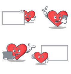 set of heart character with board phone laptop vector image vector image