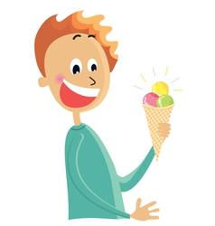 Boy eating an ice cream vector image