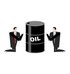 businessman praying for oil prayer barrel of vector image vector image