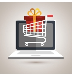 e-commerce from laptop isolated icon design vector image