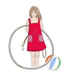 Girl with hula hoop beach ball and skipping rope vector image