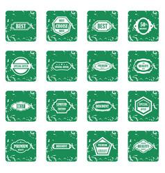 golden labels icons set grunge vector image vector image