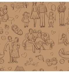 hand drawn seamless pattern with happy families vector image vector image