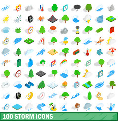 100 storm icons set isometric 3d style vector