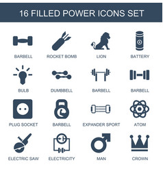 16 power icons vector