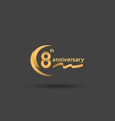 8 years anniversary logotype with double swoosh vector