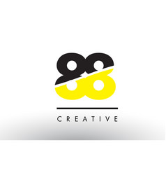 88 black and yellow number logo design vector