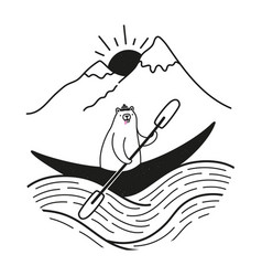 A kayaking canoeing or rafting boat with cute vector