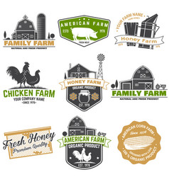 american farm and honey bee farm badge or label vector image