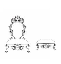 Baroque Luxurious style furniture vector
