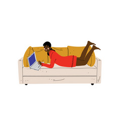 Beautiful girl lying on sofa with laptop young vector