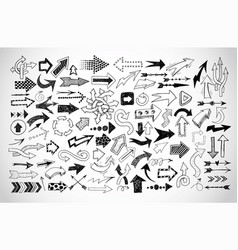 big collection doodle sketch arrows on white vector image