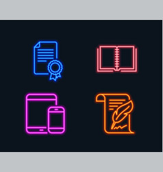 Book mobile devices and certificate icons vector