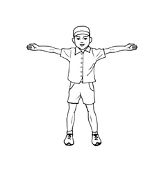 Boy standing with arms outstretched vector image