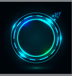 bright circle frame on dark night vector image