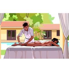 Cartoon man makes a woman a massage vector