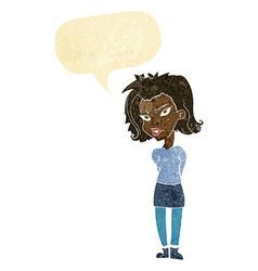 Cartoon woman with speech bubble vector