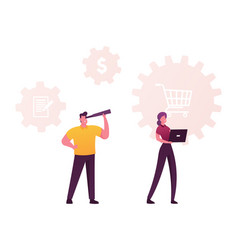 Characters with laptop and spyglass at shopping vector