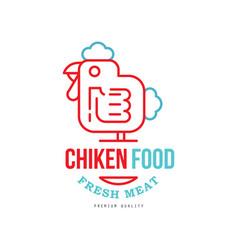 chicken food logo design fresh meat premium vector image