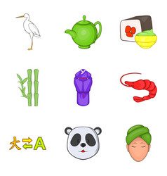 chinese lifestyle icons set cartoon style vector image