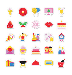 christmas and celebration colored icons 9 vector image vector image