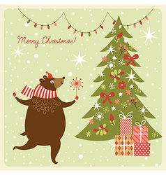 Christmas card funny bear dance vector image