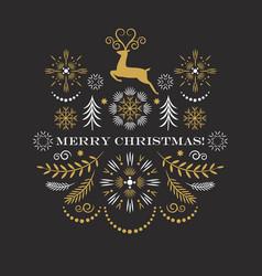 christmas deer merry christmas greeting card vector image