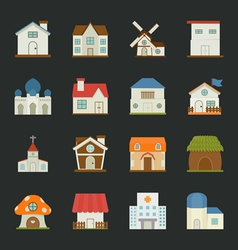 City and town buildings icons flat design vector