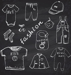 Clothes for baby boy set hand drawn sketch on vector