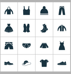 Clothes icons set collection of dress stylish vector