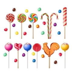 collection lollipops with a variety designs vector image