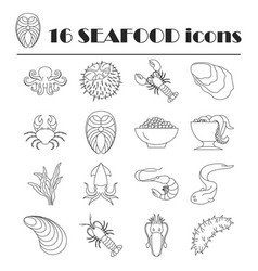 collection of line seafood icons vector image