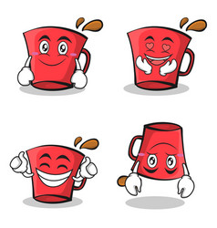 collection set red glass character cartoon vector image