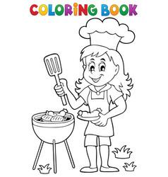 Coloring book barbecue theme 2 vector