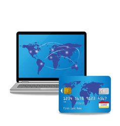 credit card and computer vector image